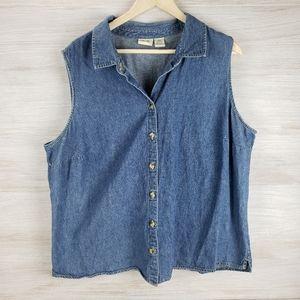 Cherokee Sleeveless Button Denim Vest Shirt